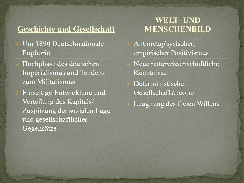 Geschichte und Gesellschaft WELT- UND MENSCHENBILD