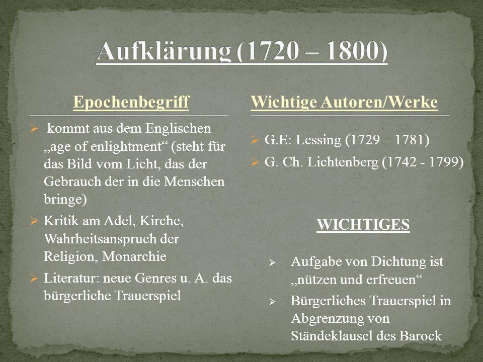 Aufklärung (1720 – 1800) Epochenbegriff Wichtige Autoren/Werke