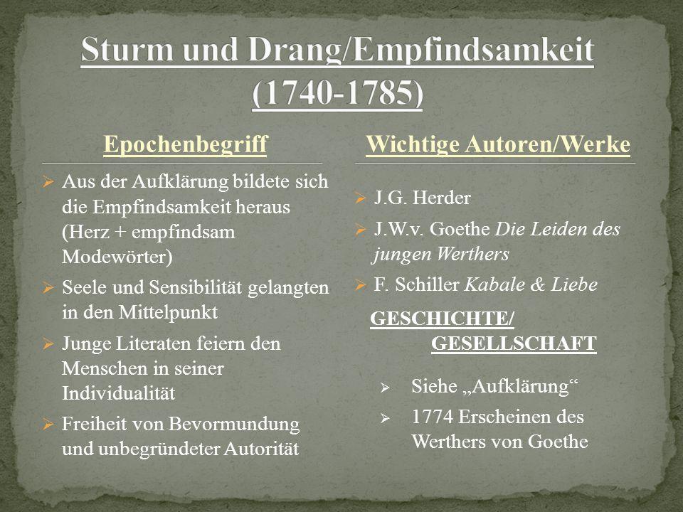 Sturm und Drang/Empfindsamkeit (1740-1785)