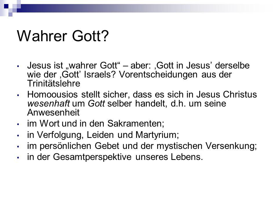 """Wahrer Gott Jesus ist """"wahrer Gott – aber: 'Gott in Jesus' derselbe wie der 'Gott' Israels Vorentscheidungen aus der Trinitätslehre."""