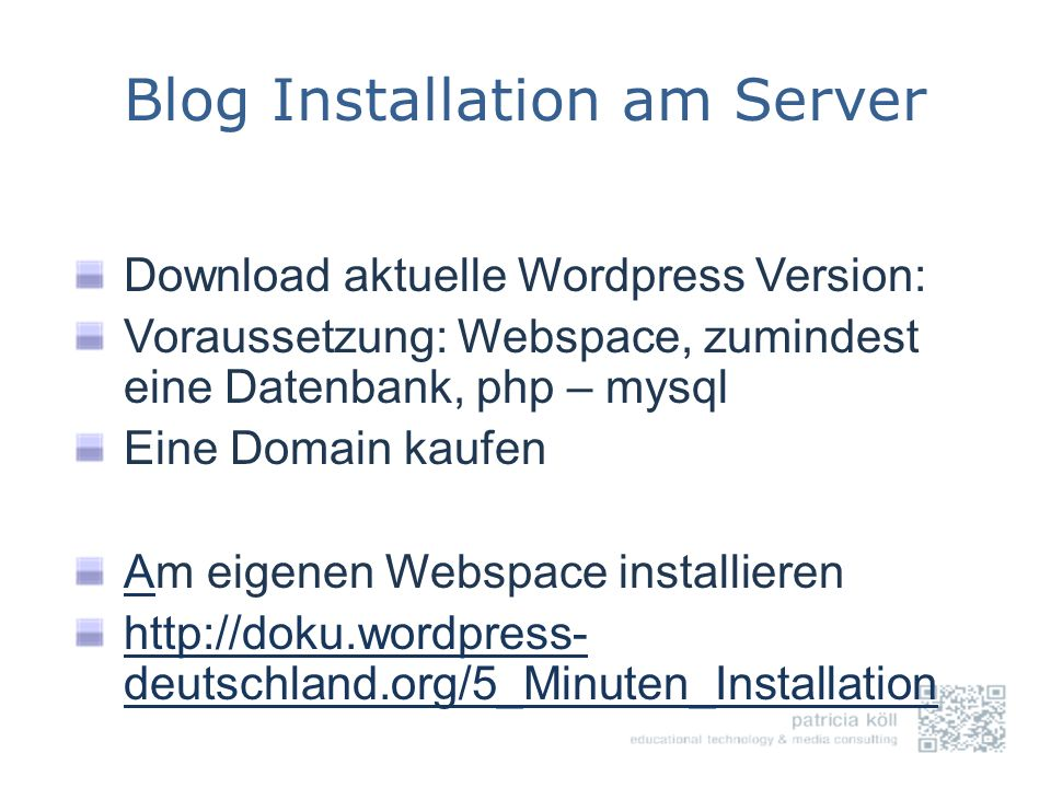 Blog Installation am Server