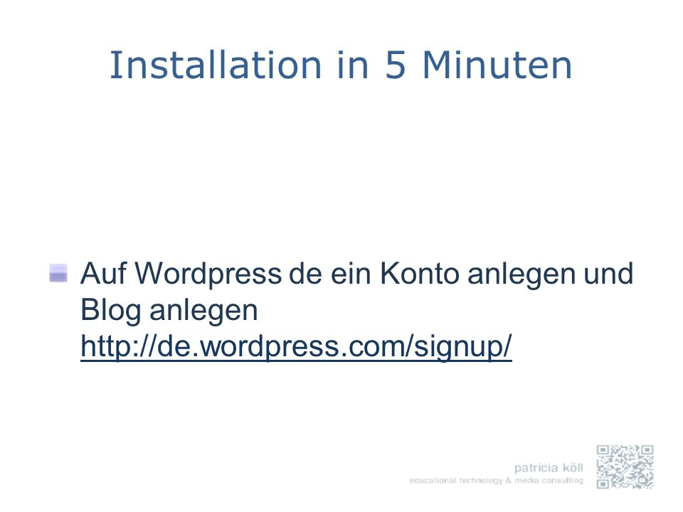 Installation in 5 Minuten