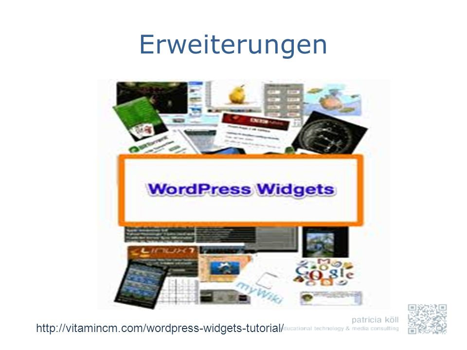 Erweiterungen http://vitamincm.com/wordpress-widgets-tutorial/