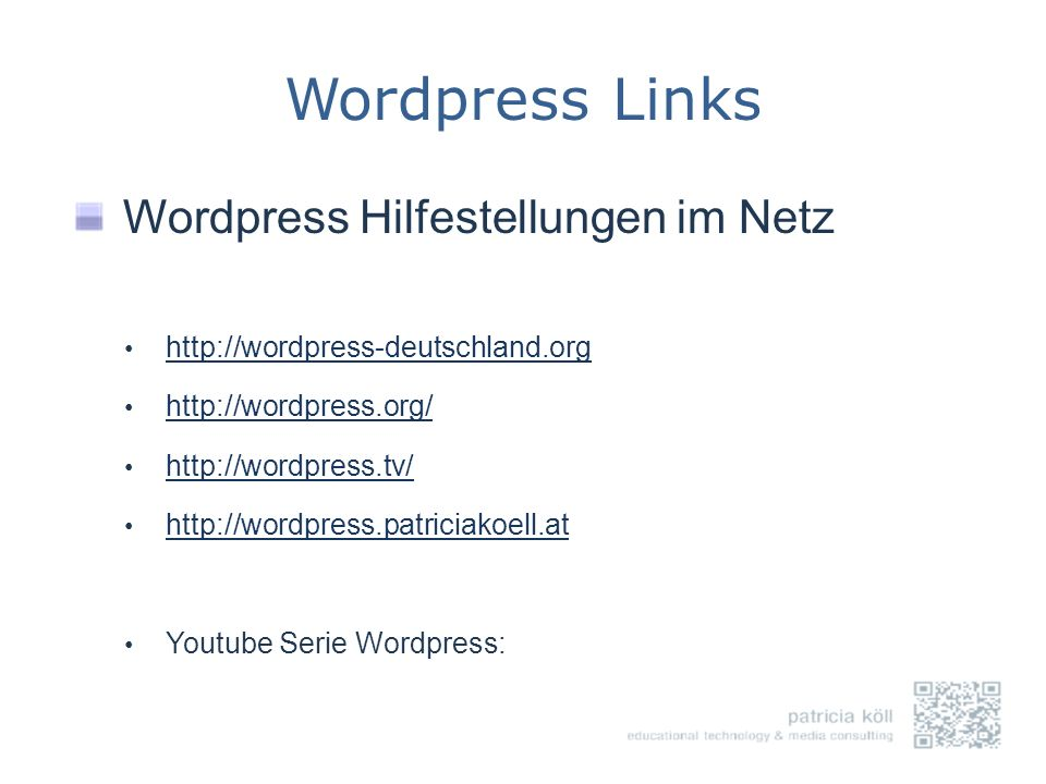 Wordpress Links Wordpress Hilfestellungen im Netz