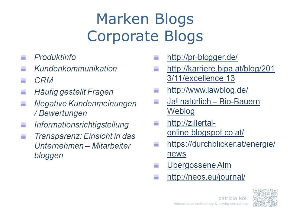 Marken Blogs Corporate Blogs