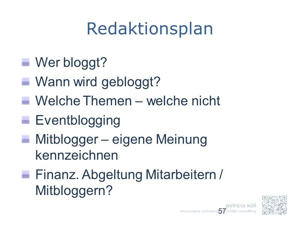Redaktionsplan Wer bloggt Wann wird gebloggt