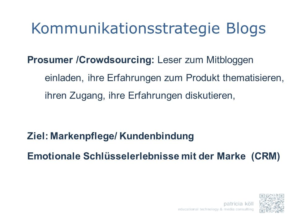 Kommunikationsstrategie Blogs