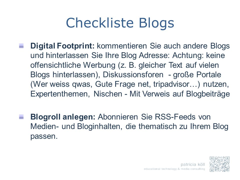 Checkliste Blogs