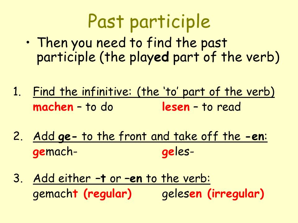 Past participle Then you need to find the past participle (the played part of the verb) Find the infinitive: (the 'to' part of the verb)