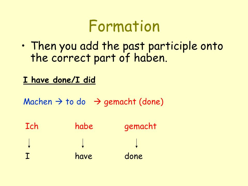 Formation Then you add the past participle onto the correct part of haben. I have done/I did. Machen  to do.
