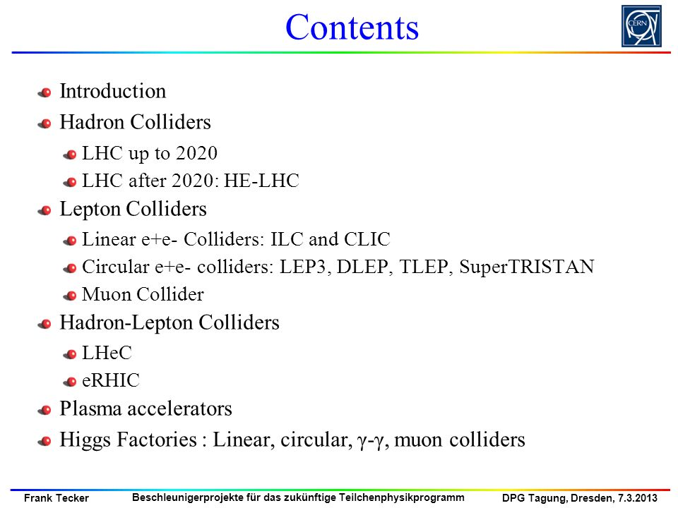 Contents Introduction Hadron Colliders Lepton Colliders