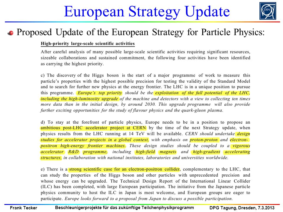 European Strategy Update