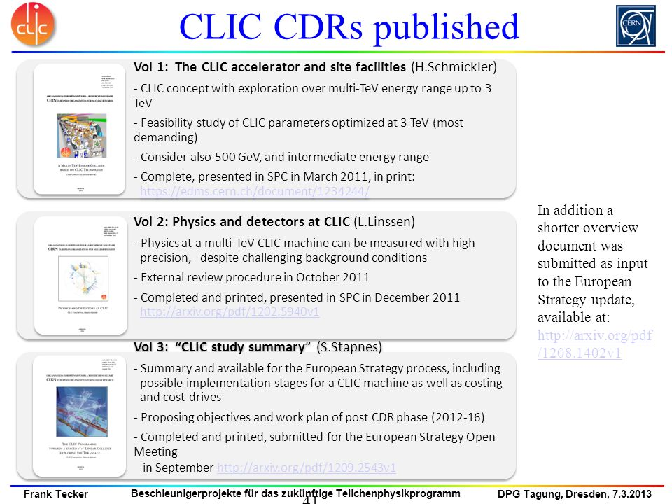 CLIC CDRs published Vol 3: CLIC study summary (S.Stapnes)