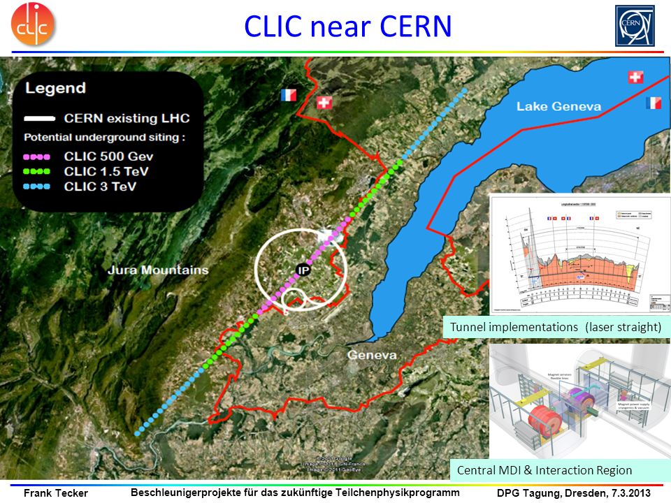 CLIC near CERN Tunnel implementations (laser straight)