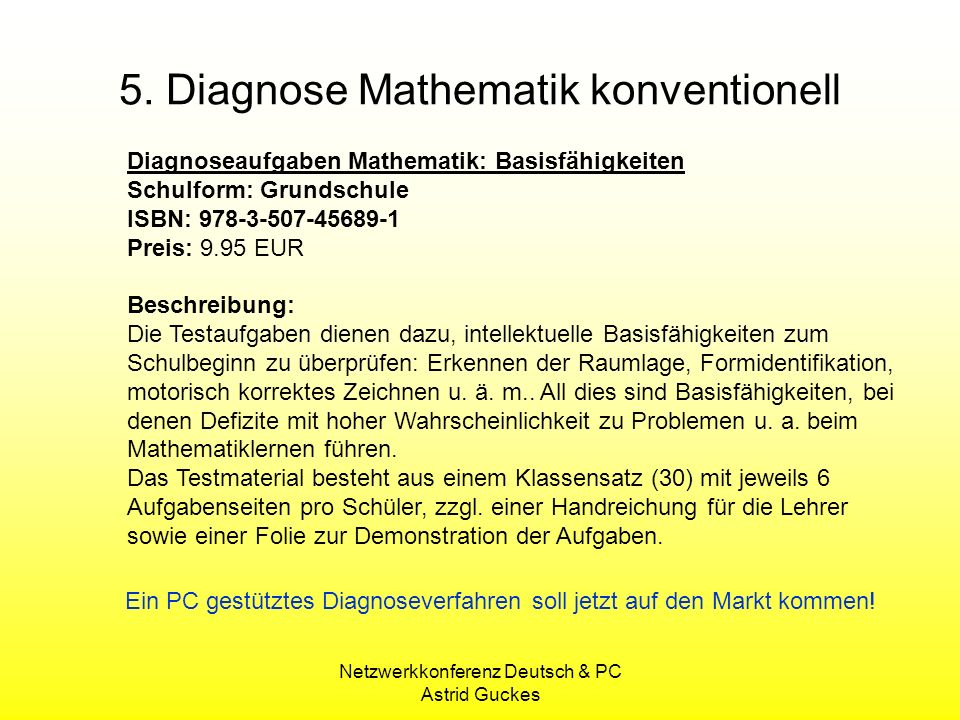 5. Diagnose Mathematik konventionell