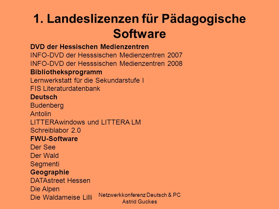 1. Landeslizenzen für Pädagogische Software