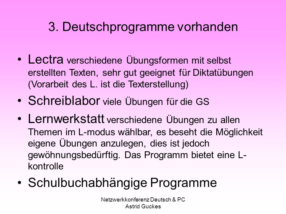 3. Deutschprogramme vorhanden