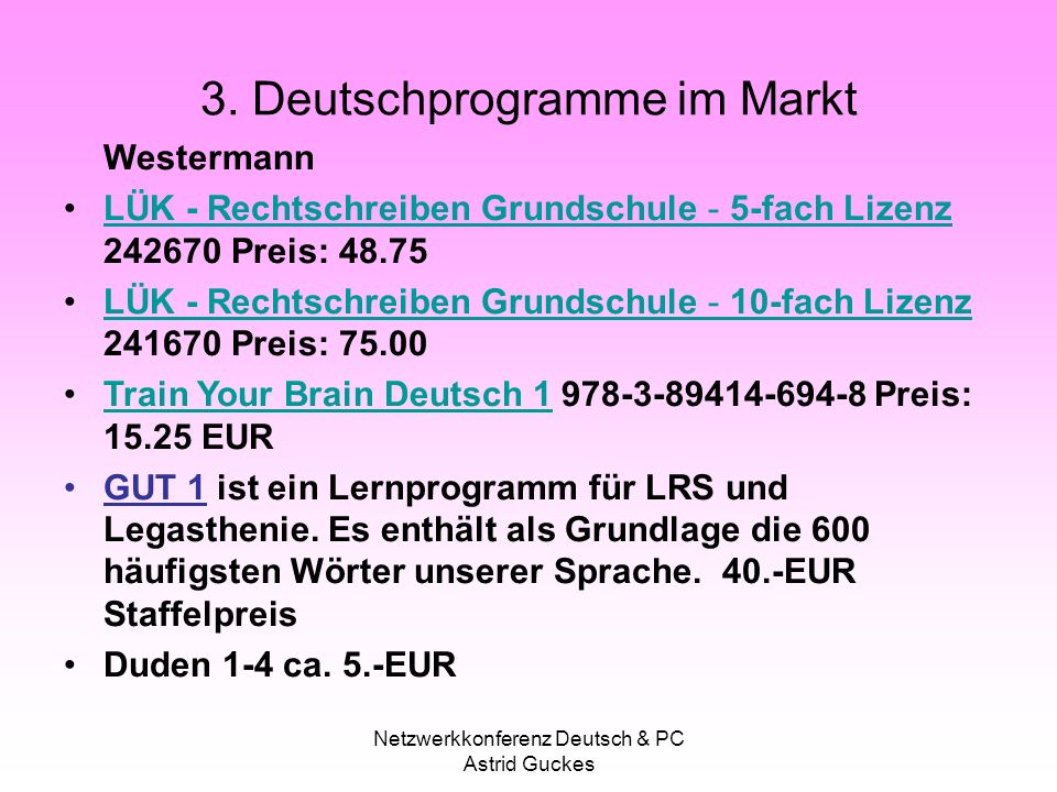 3. Deutschprogramme im Markt