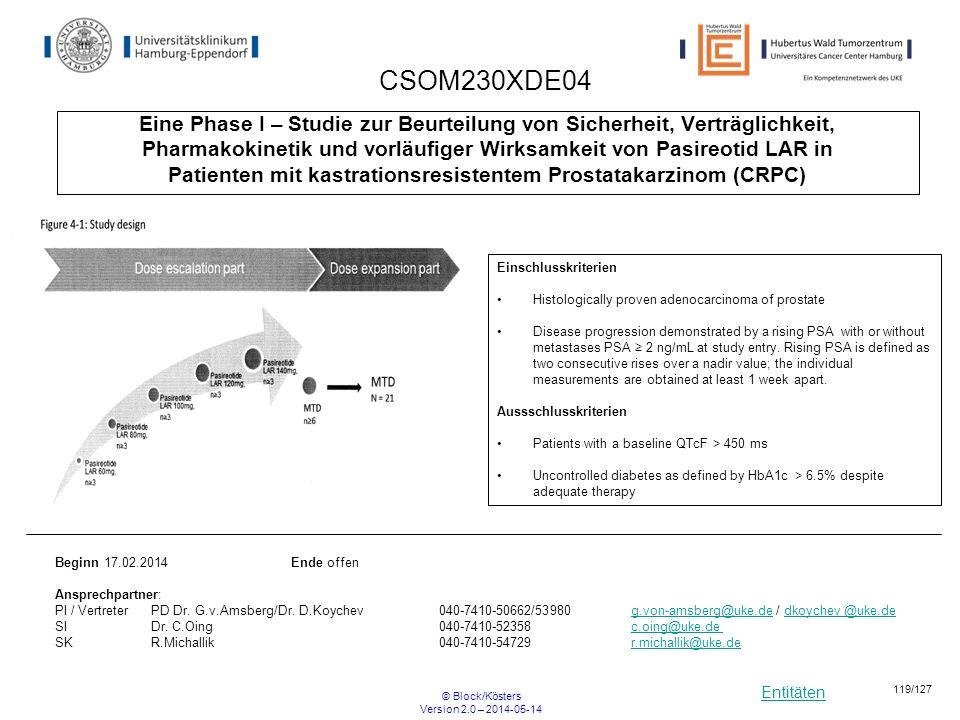 CSOM230XDE04 Eine Phase I – Studie zur Beurteilung von Sicherheit, Verträglichkeit,