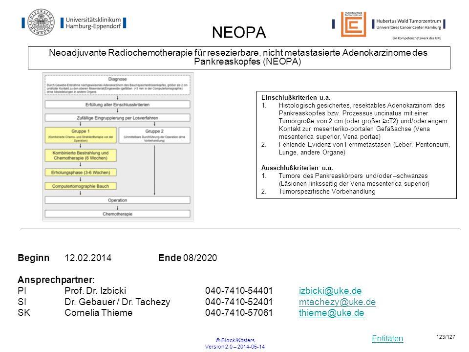 NEOPA Neoadjuvante Radiochemotherapie für resezierbare, nicht metastasierte Adenokarzinome des Pankreaskopfes (NEOPA)