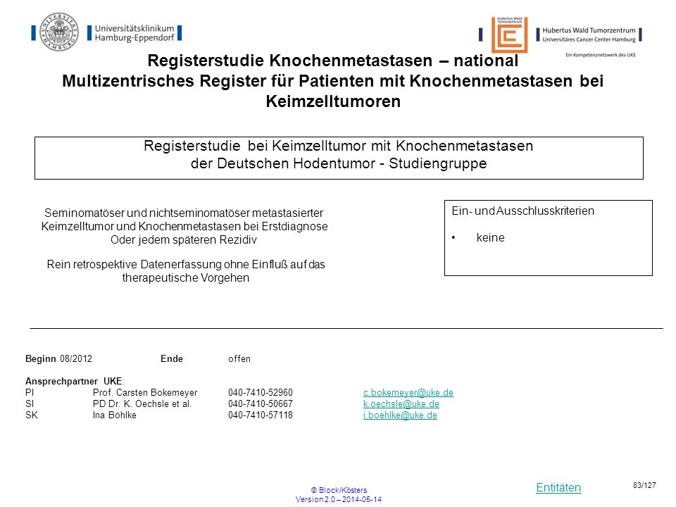 Registerstudie Knochenmetastasen – national Multizentrisches Register für Patienten mit Knochenmetastasen bei Keimzelltumoren