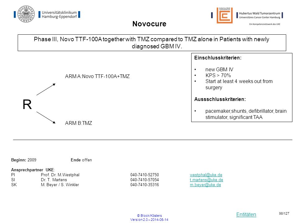 Novocure Phase III, Novo TTF-100A together with TMZ compared to TMZ alone in Patients with newly diagnosed GBM IV.