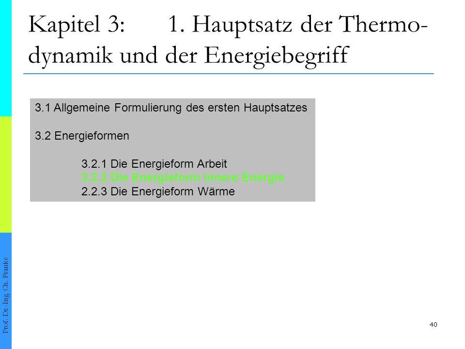 Kapitel 3: 1. Hauptsatz der Thermo-dynamik und der Energiebegriff
