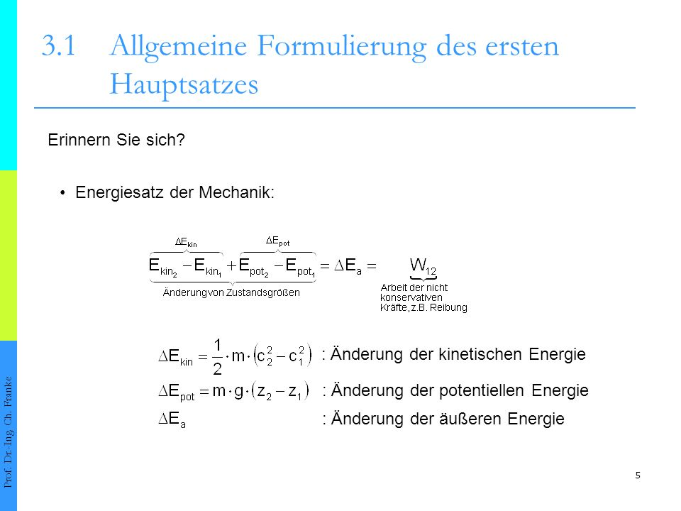 3.1 Allgemeine Formulierung des ersten Hauptsatzes