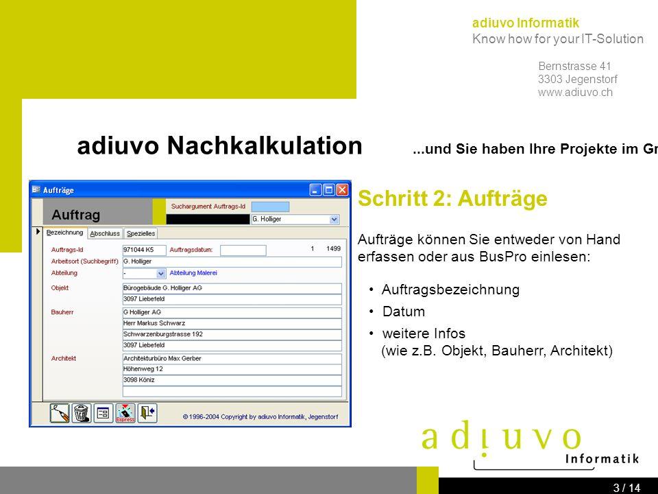 adiuvo Nachkalkulation ...und Sie haben Ihre Projekte im Griff