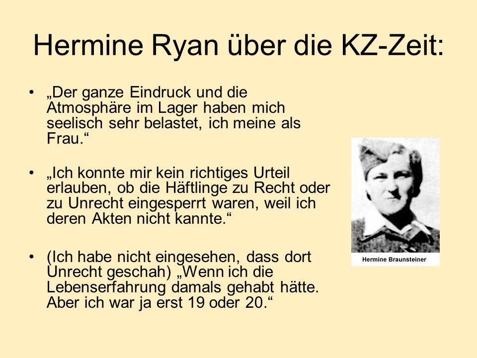 Hermine Ryan über die KZ-Zeit:
