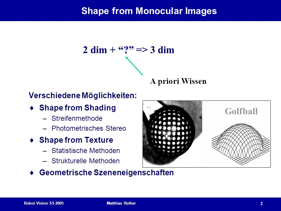 Shape from Monocular Images