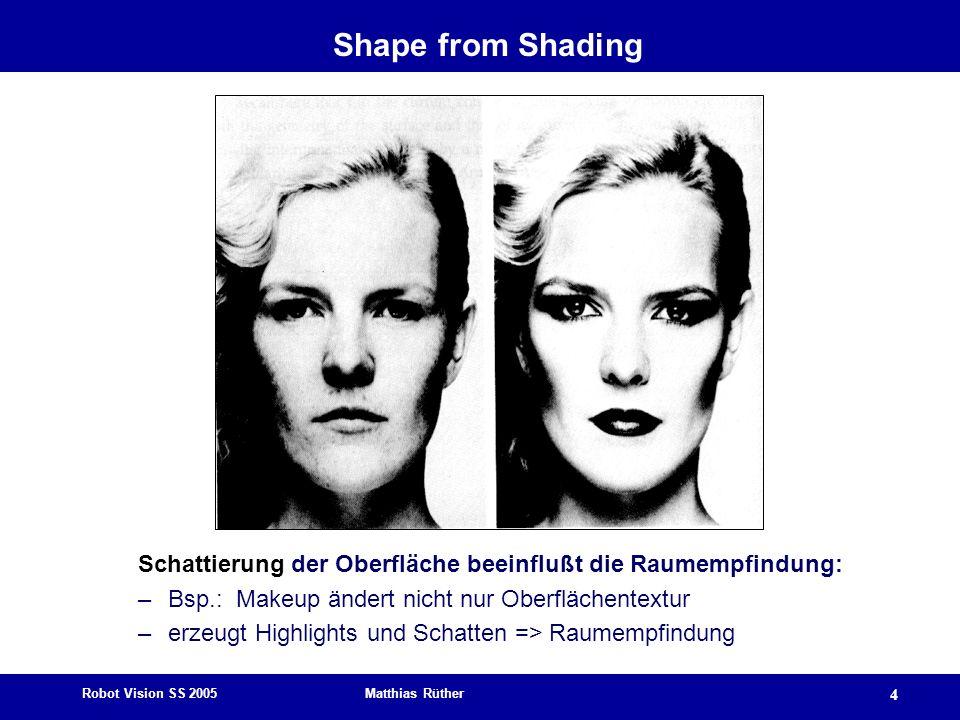 Shape from Shading Schattierung der Oberfläche beeinflußt die Raumempfindung: Bsp.: Makeup ändert nicht nur Oberflächentextur.
