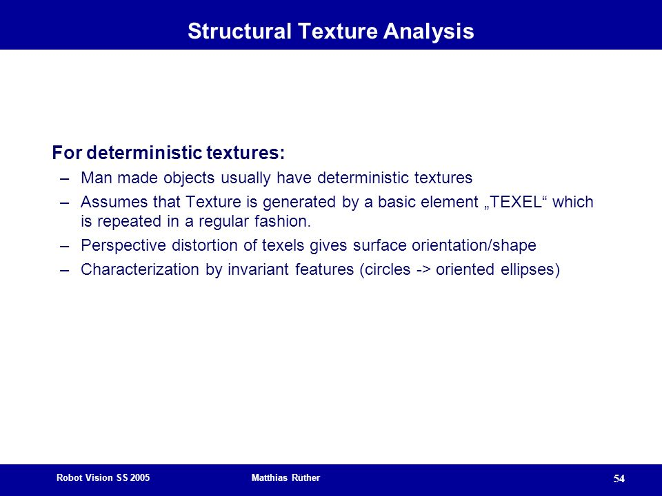 Structural Texture Analysis