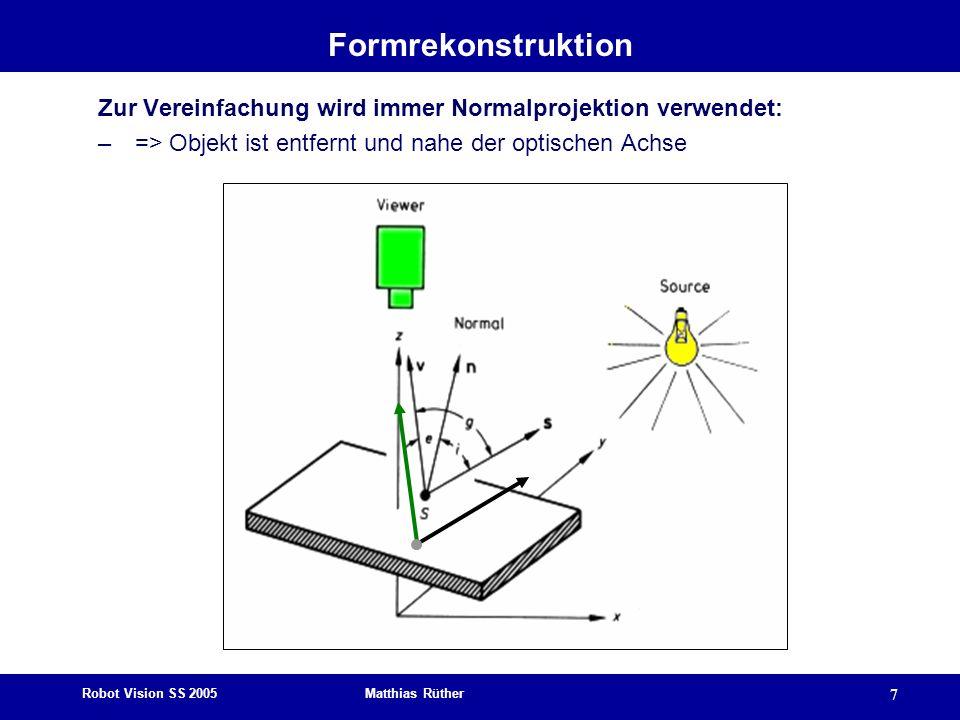 Formrekonstruktion Zur Vereinfachung wird immer Normalprojektion verwendet: => Objekt ist entfernt und nahe der optischen Achse.