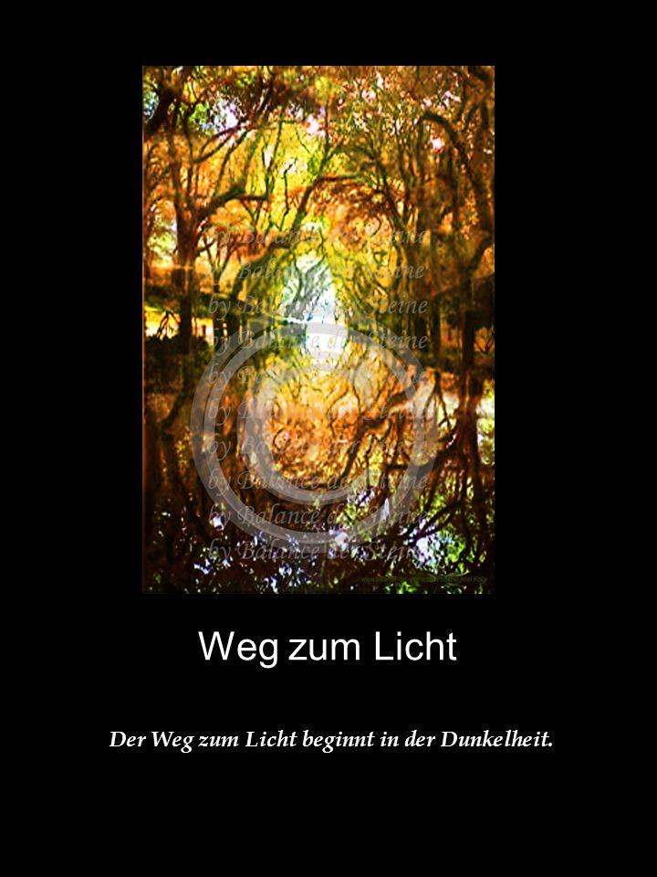 Weg zum Licht Der Weg zum Licht beginnt in der Dunkelheit.