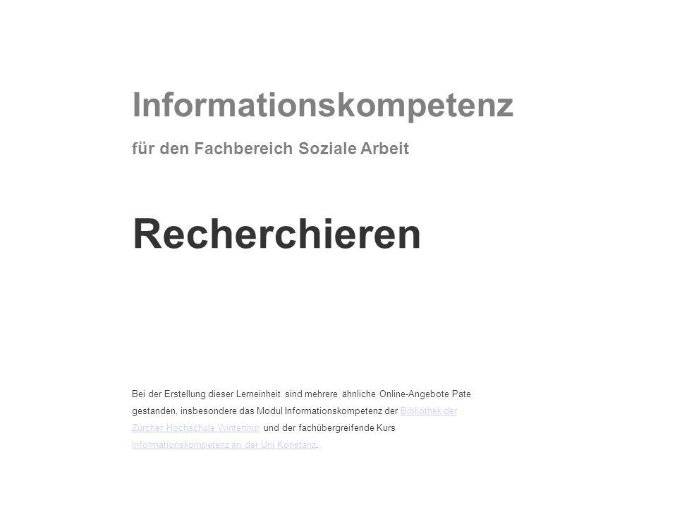 Recherchieren Informationskompetenz für den Fachbereich Soziale Arbeit