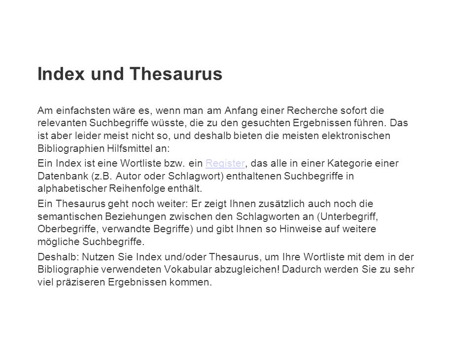 Index und Thesaurus