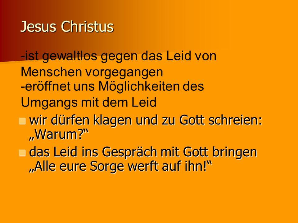 Jesus Christus -ist gewaltlos gegen das Leid von Menschen vorgegangen