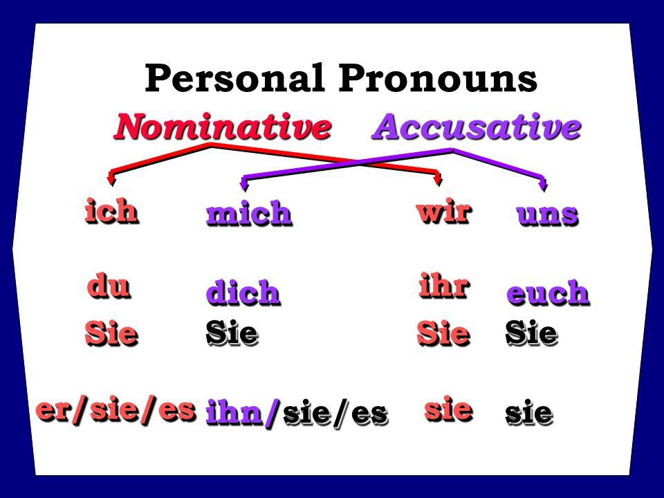 Personal Pronouns Nominative Accusative ich wir mich uns du ihr