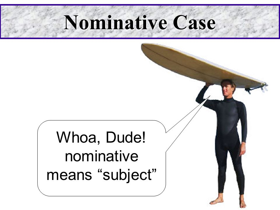 Whoa, Dude! nominative means subject