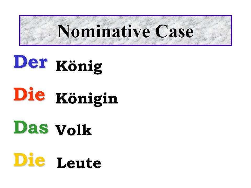 Nominative Case Der Die Das König Königin Volk Leute