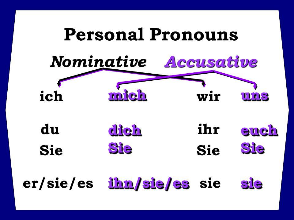 Personal Pronouns Nominative Accusative mich uns ich wir du ihr