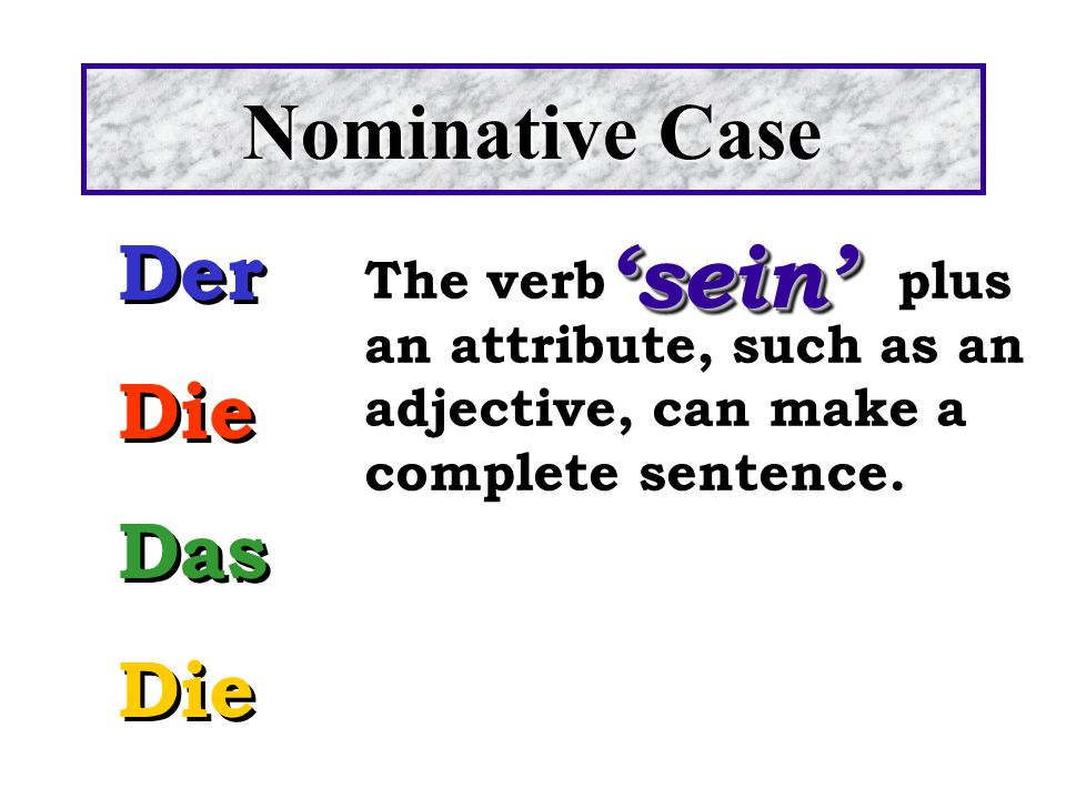'sein' Nominative Case Der Die Das