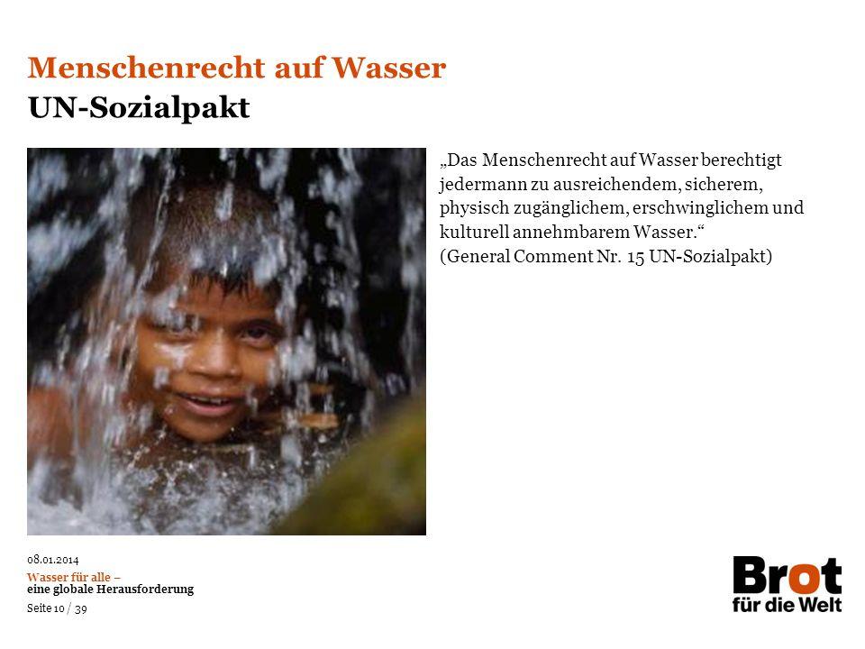 Menschenrecht auf Wasser UN-Sozialpakt