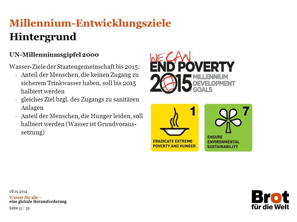 Millennium-Entwicklungsziele Hintergrund
