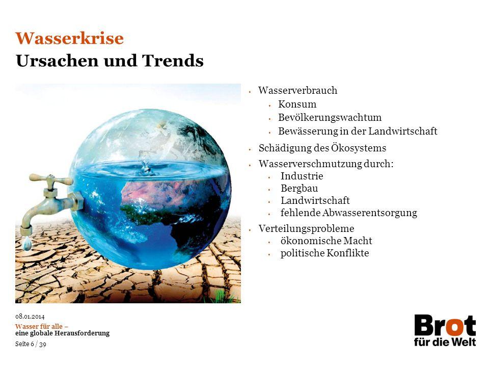 Wasserkrise Ursachen und Trends Wasserverbrauch Konsum