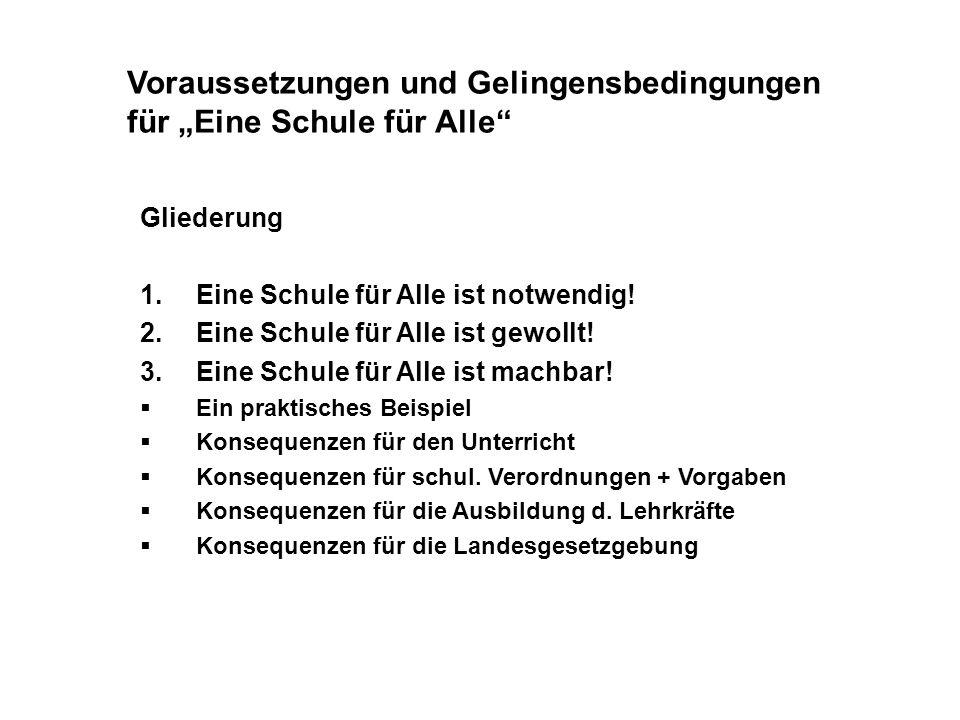 """Voraussetzungen und Gelingensbedingungen für """"Eine Schule für Alle"""