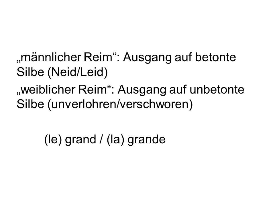 """""""männlicher Reim : Ausgang auf betonte Silbe (Neid/Leid) """"weiblicher Reim : Ausgang auf unbetonte Silbe (unverlohren/verschworen) (le) grand / (la) grande"""
