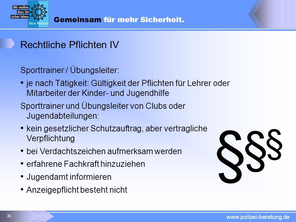 § Rechtliche Pflichten IV Sporttrainer / Übungsleiter: