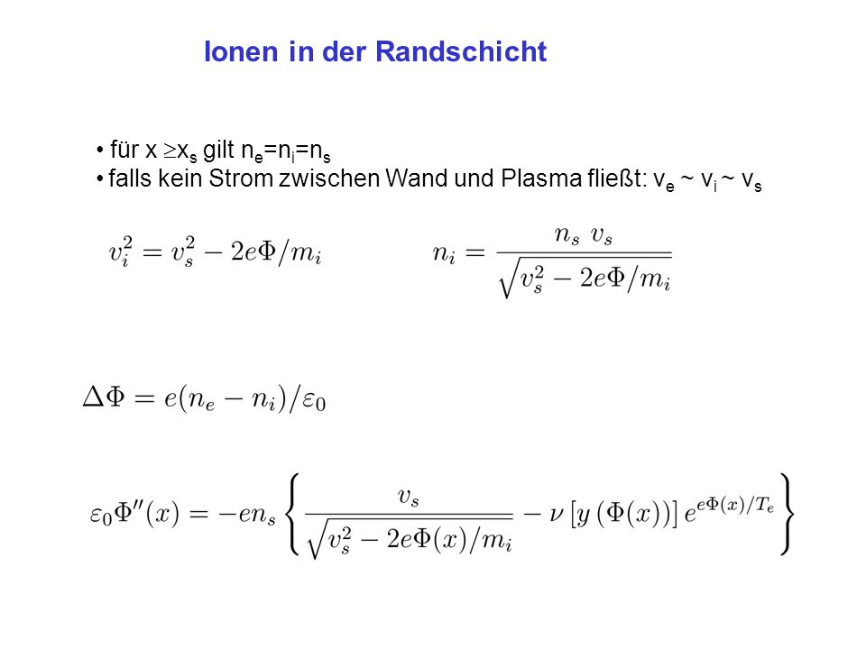 Ionen in der Randschicht